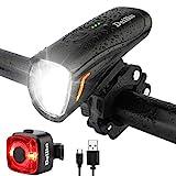 Deilin Upgraded LED Fahrradlicht Set, bis zu 70 Lux Fahrradlampe, Zugelassen USB Aufladbar Fahrradbeleuchtung, IPX5 Wasserdicht Fahrradlicht Vorne Frontlicht& Rücklicht Set